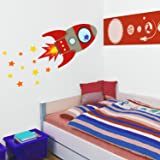 Flying rocket wall sticker (Regular size in Red) | Perfect for creating a space themed nursery or bedroom