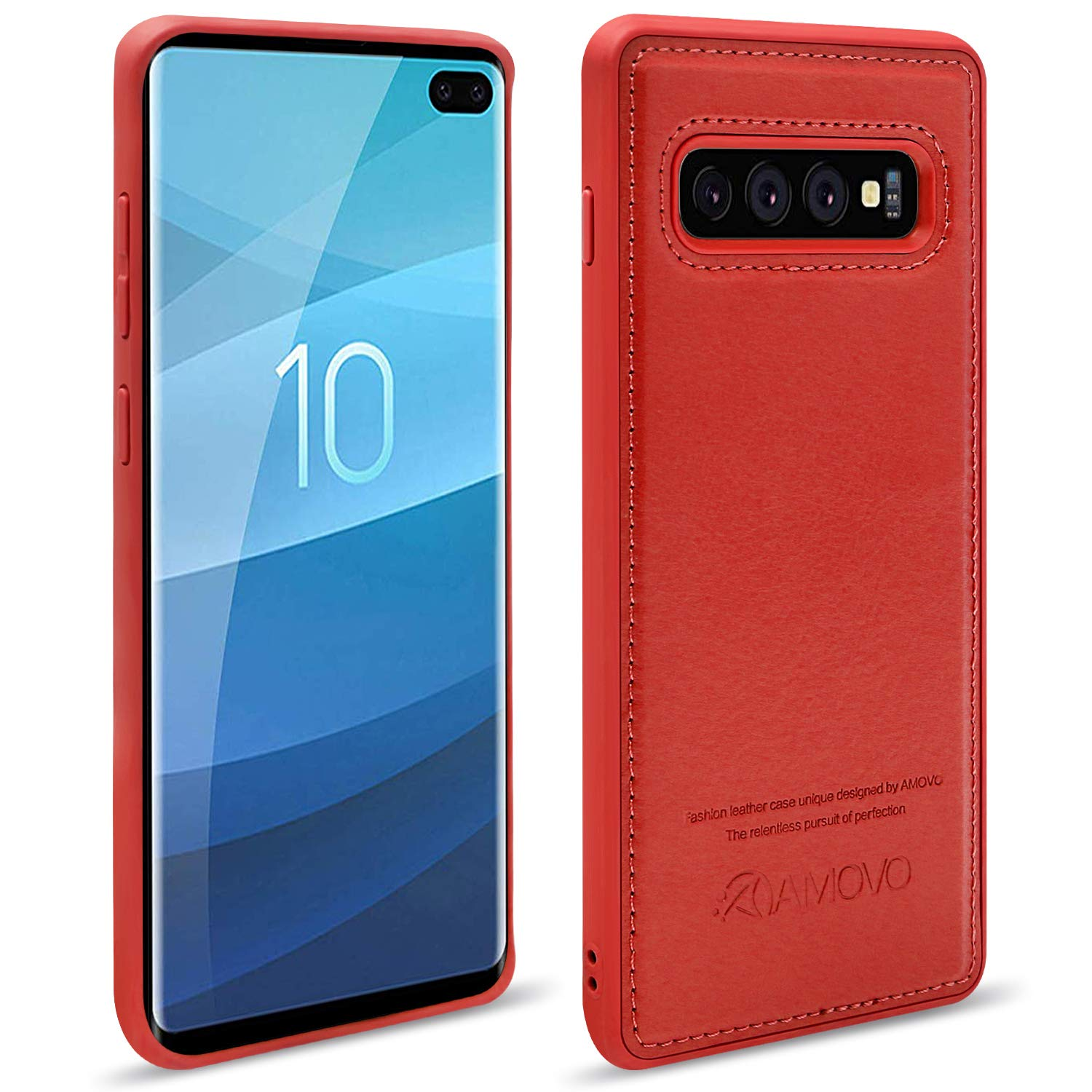 6.4/'/' 2 in 1 S10Plus Vegan Leather 6.4 Samsung Galaxy S10 Plus Wallet Case Detachable AMOVO Case for Galaxy S10 Plus//S10+ Black S10+ Flip Case with Gift Box Package Wrist Strap