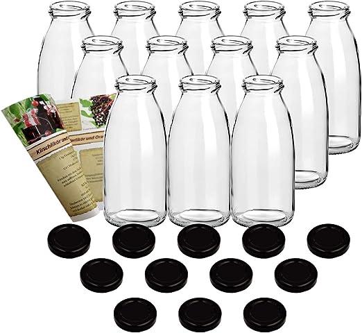 guoveo - 12 botellas de zumo de 250 ml con tapón de rosca negro ...