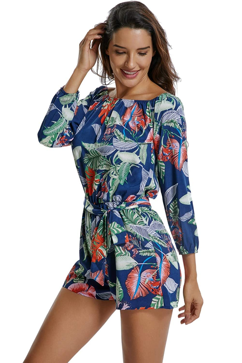 MISS MOLY Rompers for Women Strapless Off The Shoulder Long Sleeve Short Jumpsuits with Belt