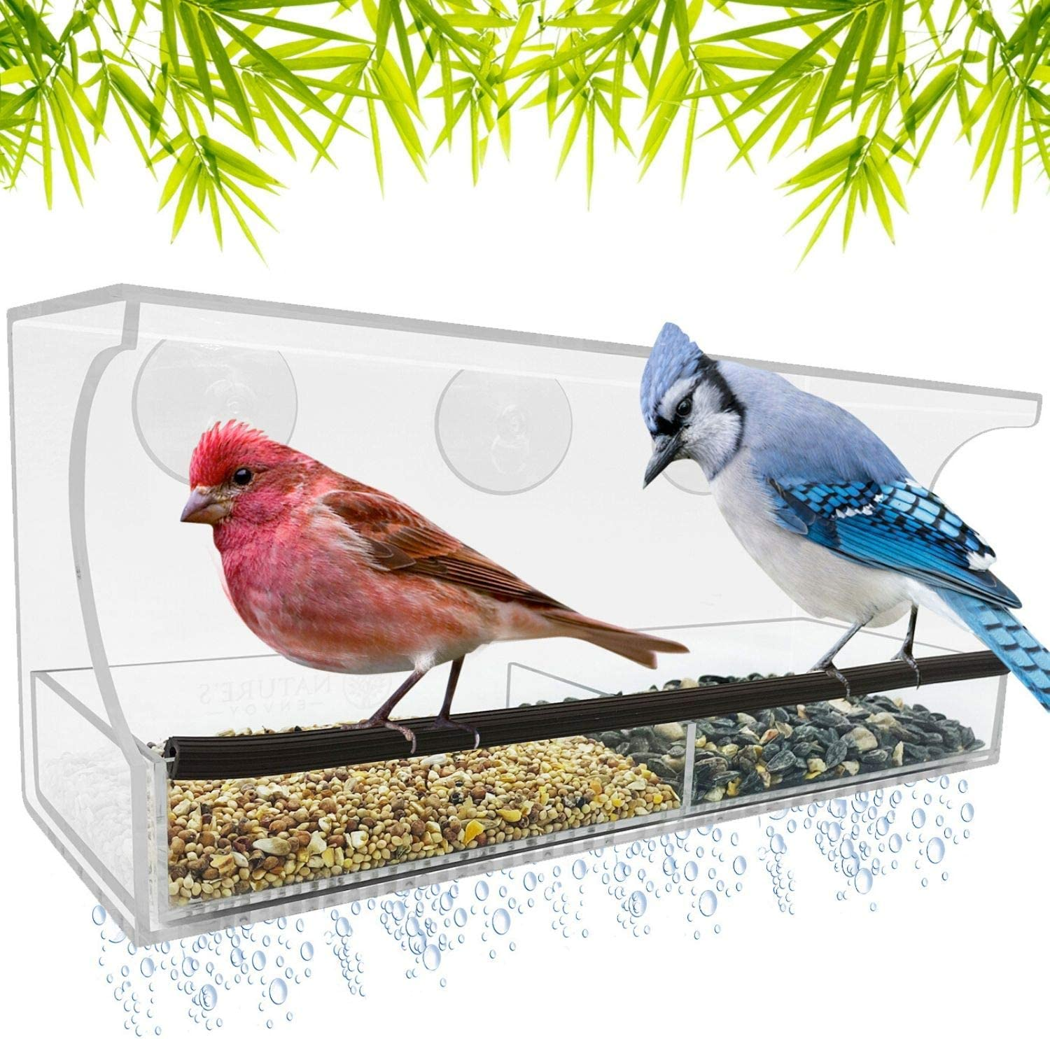 Window Bird Feeder - Strong Suction Cups for Outside - Nonslip Slide Out Seed Tray w/ Drainage Holes for Easy Clean - Clear Acrylic for Close Up View - Large Feeders for Finch, Cardinal, Wild Birds