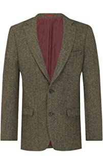 a28972fa Harris Tweed Mens Green with Brown Overcheck Tweed Jacket Regular Fit 100%  Wool Notch Lapel