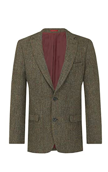 : Harris Tweed Mens Green with Brown Overcheck