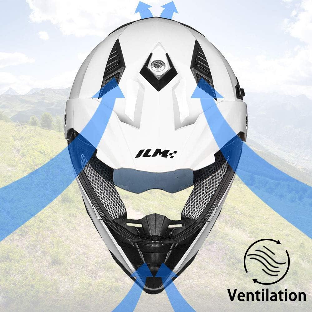 L, White ILM Off Road Motorcycle Dual Sport Helmet Full Face Sun Visor Dirt Bike ATV Motocross DOT Approved