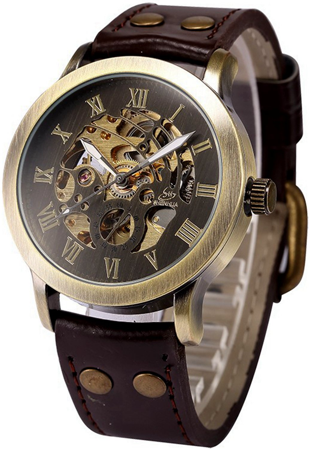 Mens Steampunk Skeleton Case Automatic Mechanical Brown Brown Leather Sport Wrist Watch
