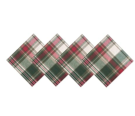christmas cottage plaid cotton weave holiday napkins set of 4 napkins - Christmas Napkins Cloth