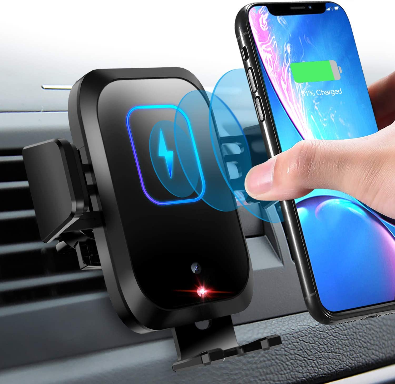 Samsung S10//S10+//S9//S9+//S8 /& More Wireless Car Charger Mount 10W//7.5W Qi Fast Charging Sensor Auto-Clamping Air Vent Car Phone Holder Compatible iPhone 11//11 Pro//11 Pro Max//XS//XR//X//8//8+ Note 10//10