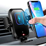 Wireless Car Charger Mount 10W/7.5W Qi Fast Charging Sensor Auto-Clamping Air Vent Car Phone Holder Compatible iPhone 11…