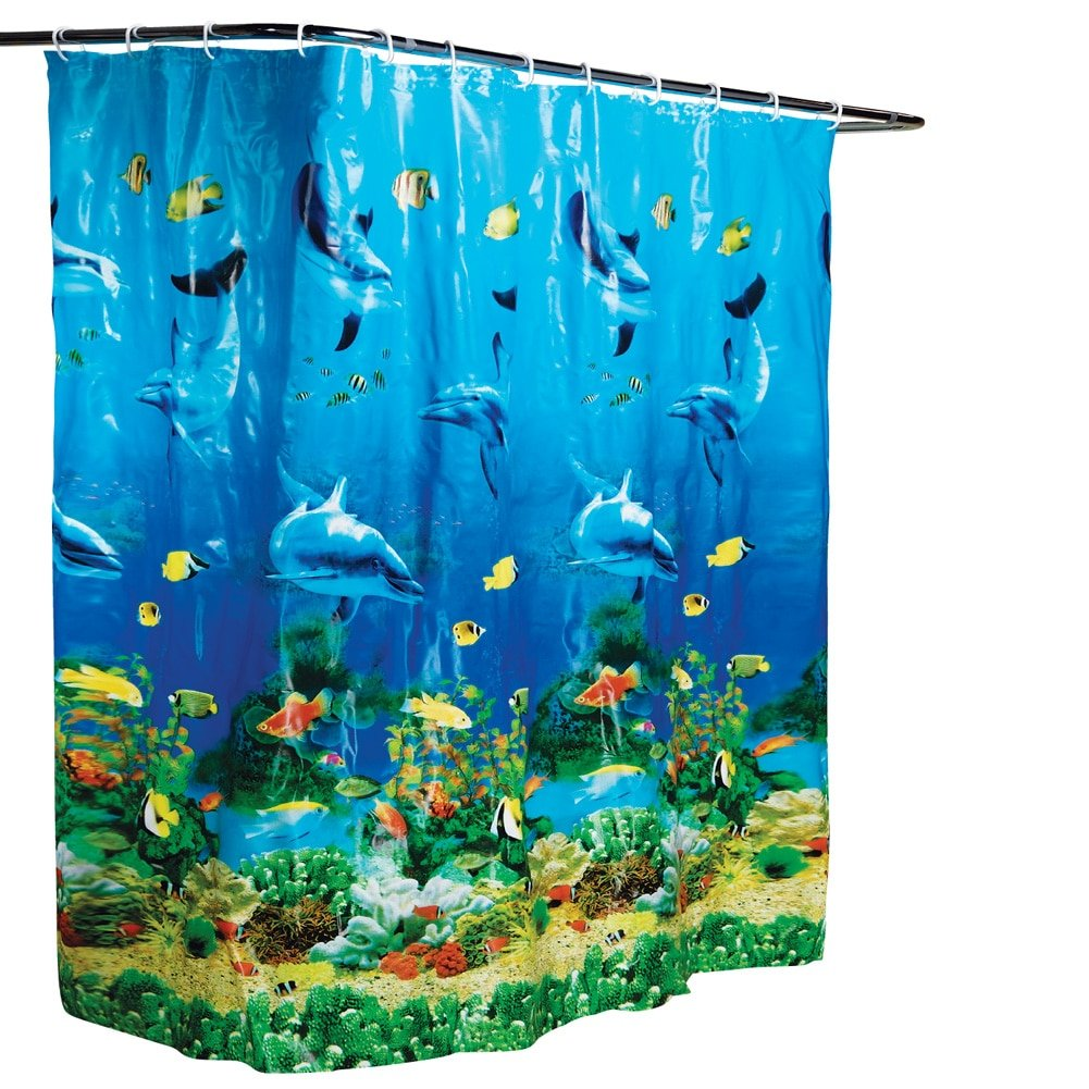 Ocean themed shower curtains - Amazon Com Dolphin Bay Under The Sea Shower Curtain Blue Home Kitchen