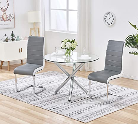 Terrific Tonvision Clear Glass Dining Table And Set Of 2 Chairs Stylish Grey Faux Leather High Back 90Cm Round Top Metal Legs Kitchen Home Office Studio Set Dailytribune Chair Design For Home Dailytribuneorg