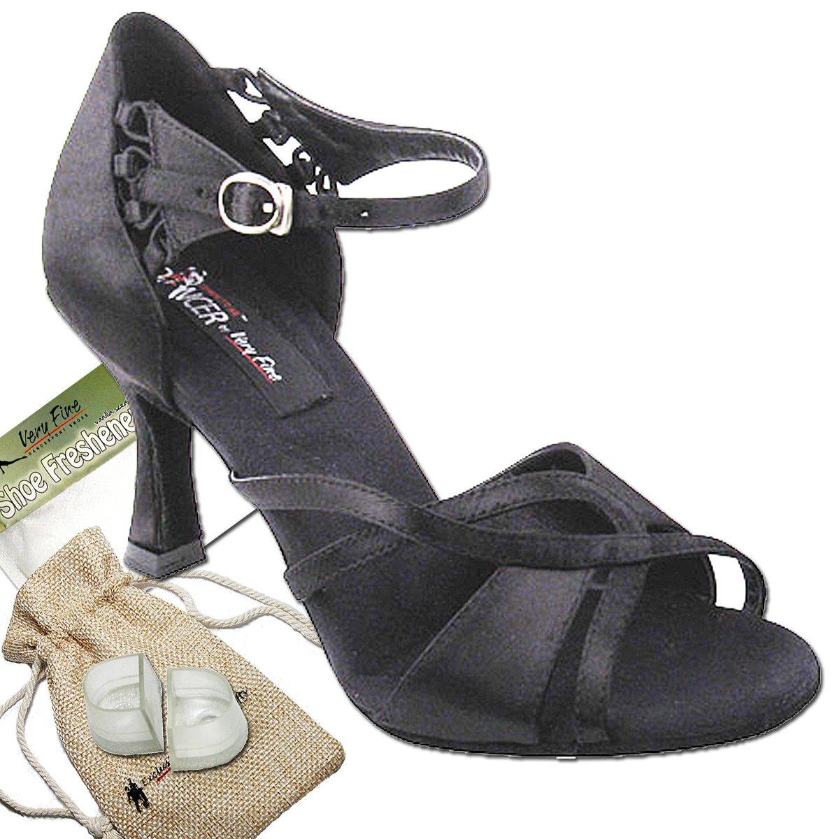 [Very Fine Dance Shoes] レディース B00AO4VUCO ブラックサテン 9 B(M) US