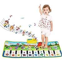 NEWSTYLE Musikmatta barn, dansmatta pianomatta för barn, pianotangentbord musik pianomatta matta, 8 instrument ljud…