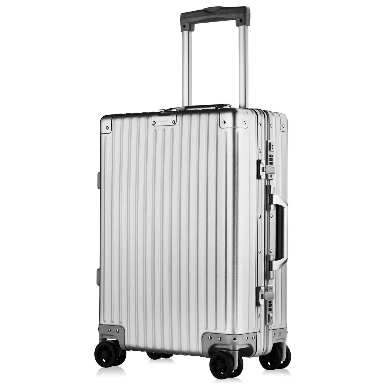 【XDJ Life】 スーツケース アルミマグネシウム合金 キャリーバック キャリーケース レトロ TSAロック 1年保証 無段階調節 防塵カバー付 B07FP42CML Sサイズ(機内持込OK2~3泊用36L)|シルバー シルバー Sサイズ(機内持込OK2~3泊用36L)