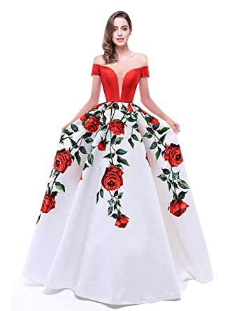 6635d20328d2 JoyVany Women s Off Shoulder Floral Print Prom Dresses 2018 Long Formal Gown  Size 2 Red