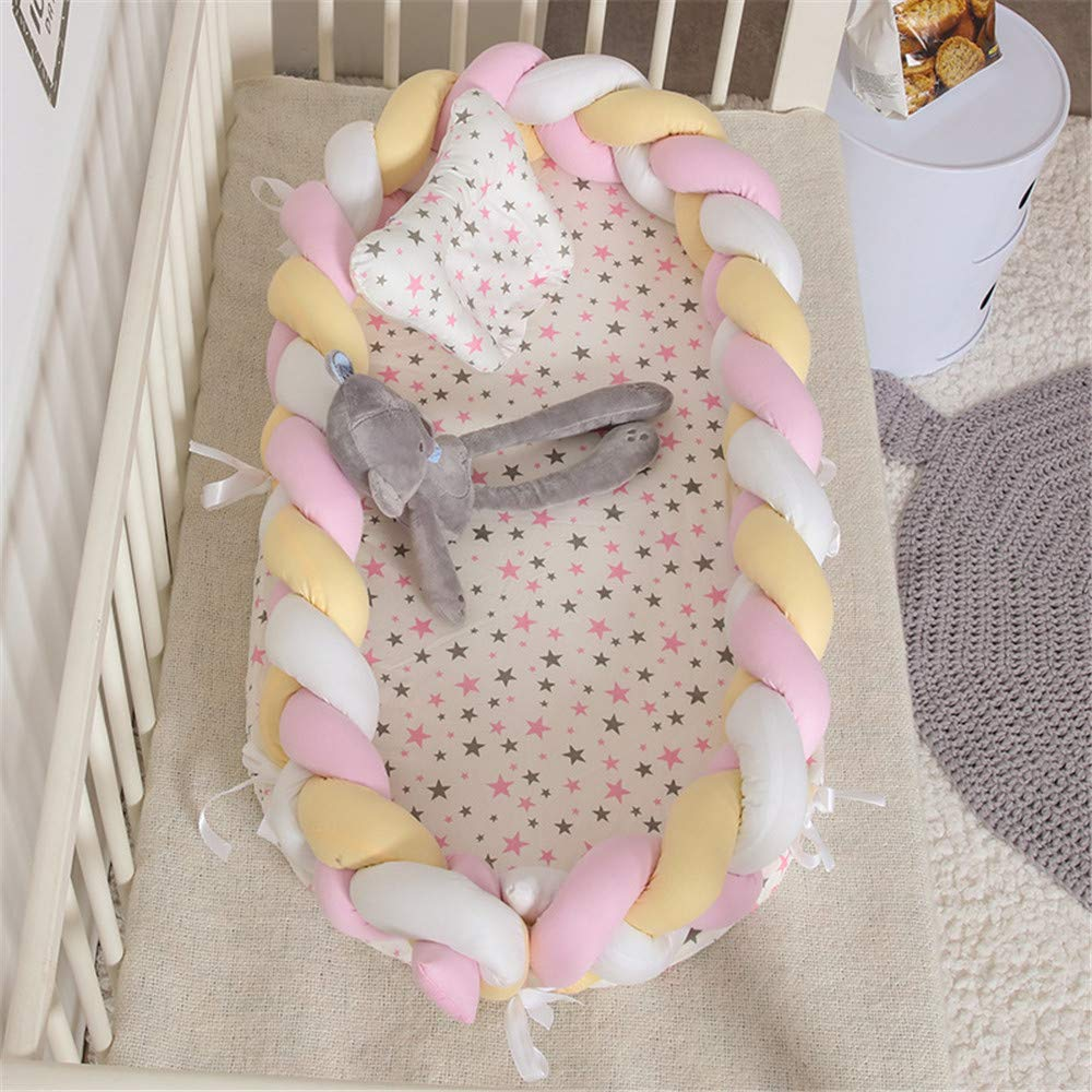 100/% Cotton Portable Crib for Bedroom//Travel//Camping 0-24 Month Abreeze Baby Lounger for Newborn Braided Knot Crib Co-Sleeping Baby Bed Teal Baby Lounger