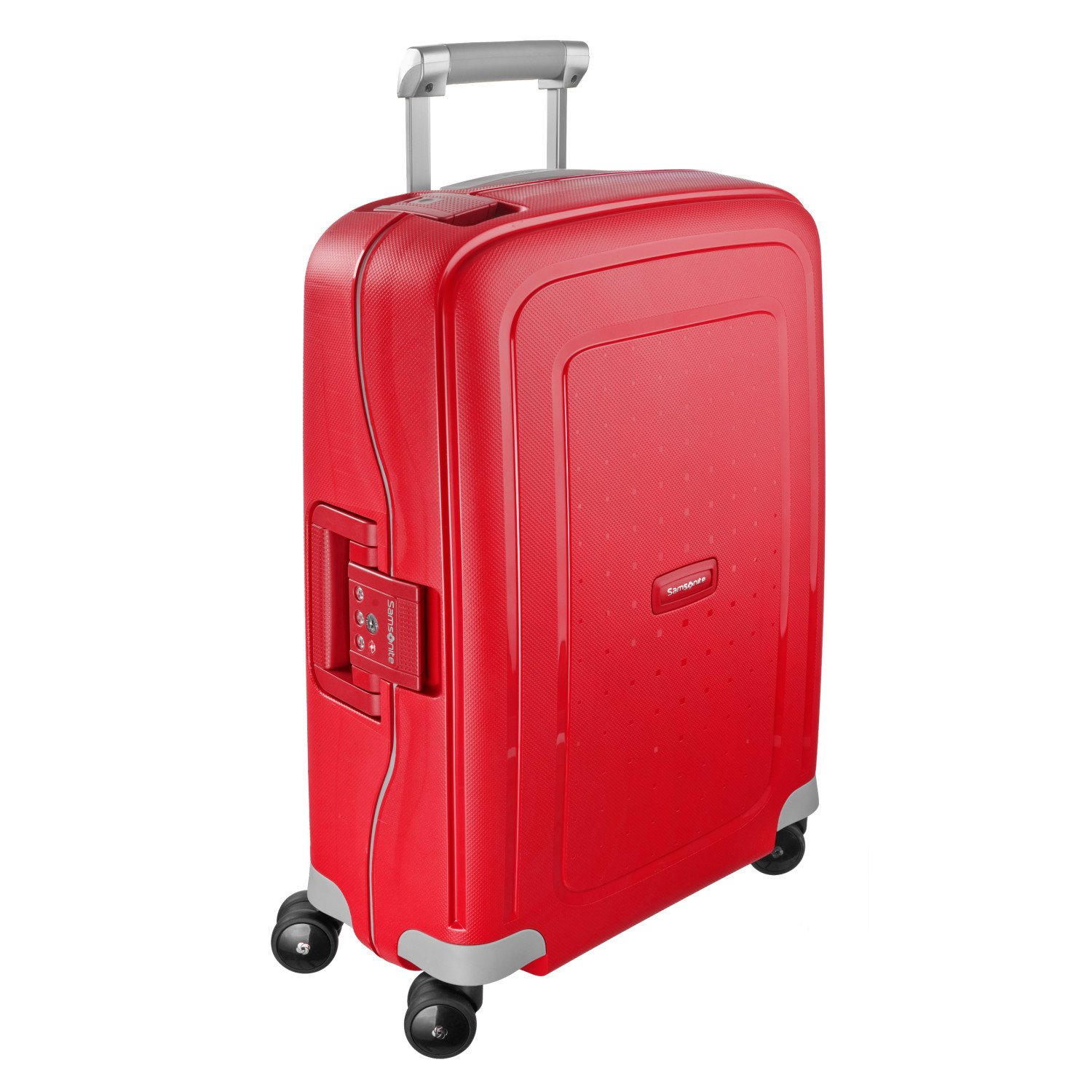 Samsonite S'Cure Hardside Checked Luggage with Spinner Wheels, 30 Inch, Crimson Red