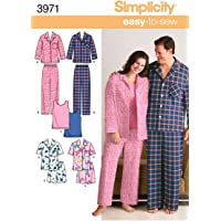 Simplicity Easy to Sew Men and Women's Matching Pajamas Sewing Patterns, Sizes XL-XXL
