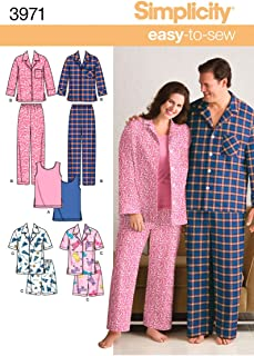 product image for Simplicity Easy To Sew Men and Women's Matching Pajamas Sewing Patterns, Sizes XL-XXL