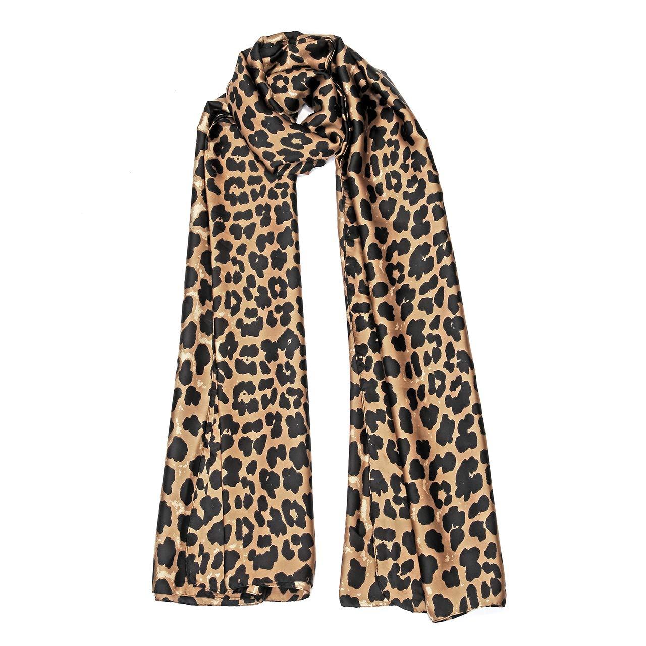 93be5e1a152 Faletony Grande Écharpe Châle Femme Imprimé Leopard en Soie Factice Léger  Col Chaud Foulard Hiver Printemps ...