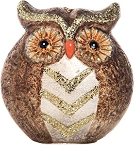 Transpac Imports Large Glass Light Up Owl Decor, Brown