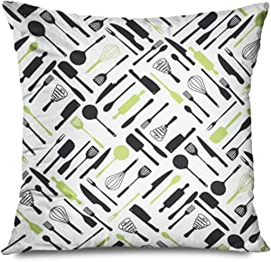"""Onete Throw Pillow Cover Square 16""""x16"""" Food Drink Tools Pattern for Design Branding Warp File Layout Bake Knife Chef Meat Identity Cook Decorative Zippered Pillowcase Home Decor Cushion Case"""