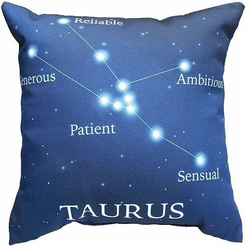 Manual Woodworker Horoscope Navy Blue Decorative Throw Pillow – Taurus