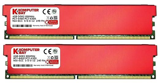 1095 opinioni per Komputerbay 8GB (2 x 4GB) DDR2 DIMM (240 pin) 800MHZ PC2-6400 PC2-6300 RAM