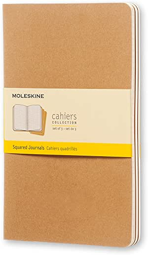 "Moleskine Cahier Journal, Soft Cover, Large (5"" x 8.25"") Squared/Grid, Kraft Brown, 80 Pages (Set of 3)"