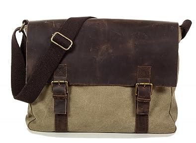 2e918d68e1 Taschenloft Unisexe sac besace - sac à bandoulière en toile et cuir  véritable de style vintage