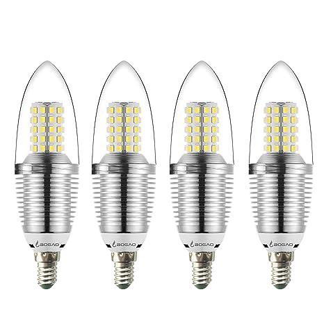BOGAO E14 LED Candelabra Bombilla suelo, 12 W luz de día Blanco LED Vela Bombilla