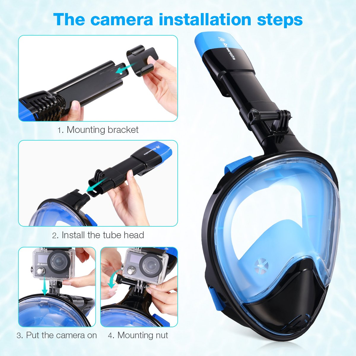 Powerextra Snorkel Mask 180° Panoramic View Anti-fog Anti-leak Design for Gopro and other Detachable Camera Mounts (Size: L/XL)