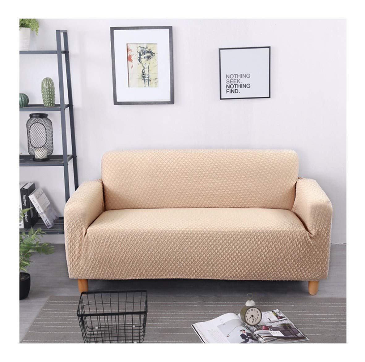 3seat VGUYFUYH Beige Seasons Universal Sofa Cover Polyester Full Package Elasticity Slip-Proof Home Universal Sofa Cover Simple Fashion One Set Durable Dust-Proof Pet Dog Predective Cover,3Seat