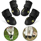 RoyalCare Protective Dog Boots, Set of 4 Waterproof Soft Dog Shoes for Medium and Large Dogs - Black (5#)