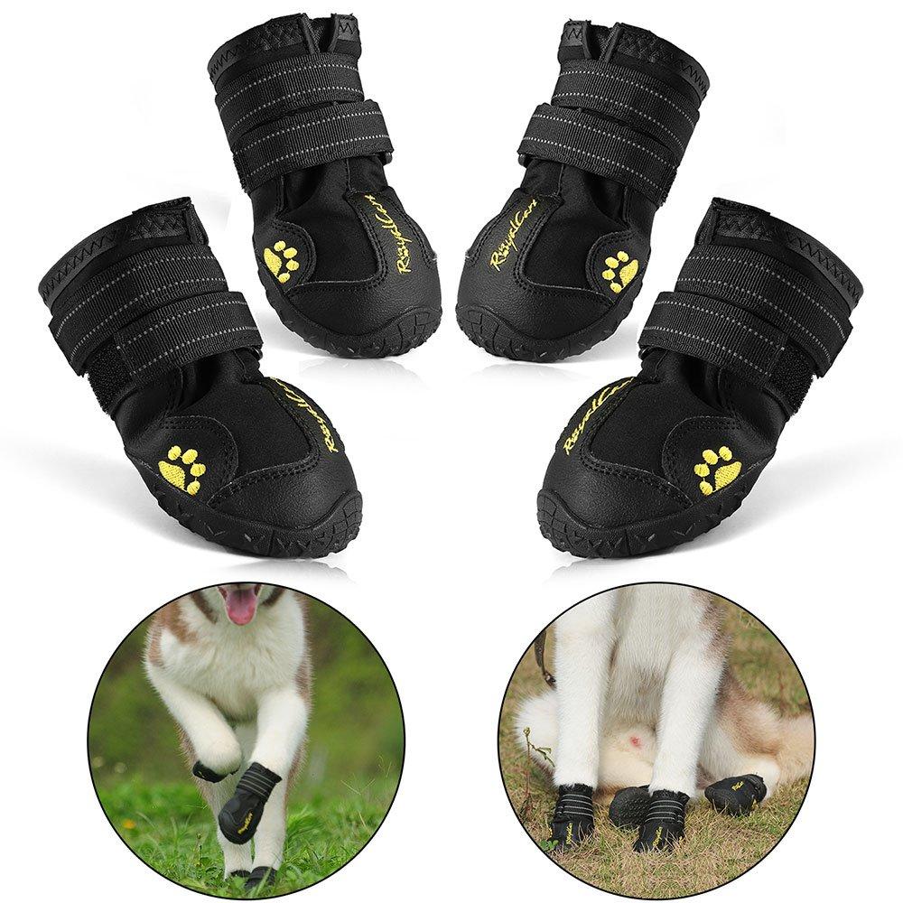 RoyalCare Bottes Chien, Chien Chaussure Respirantes Chausson pour Antidérapant pour Taille Moyenne et Grande Chien – Noir 4Pcs 5# Dog-Boot-05