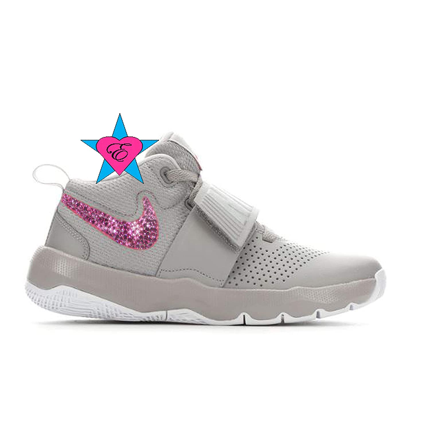 Bling Shoes for Girls | Bedazzled Gray N I K E Team Hustle D8 | 3.5-7 | Basketball Shoes