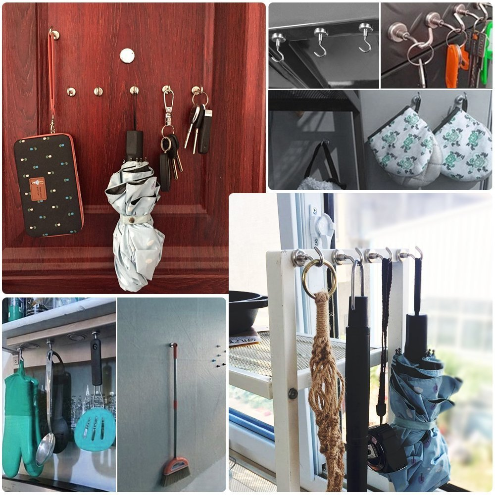 Strong Powerful Neodymium Indoor//Outdoor Magnet Hooks Netany x228 12 LB Heavy Duty Magnetic Hooks 12 Pack - Kitchen Bathroom Bedroom Garage lockers Office