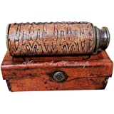 12'' Brass Ship Captain Telescope with Leather Carving Bounded. C-3092
