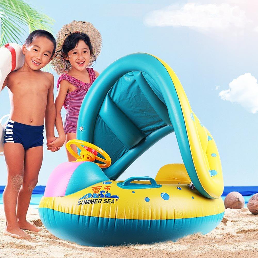 Flotador hinchable bebé, 28x28cm Inflables Baby Pool flotador anillo de natación, inflable ajustable sombrilla Seat Boat Ring Swim Pool, Asiento barco yate ...