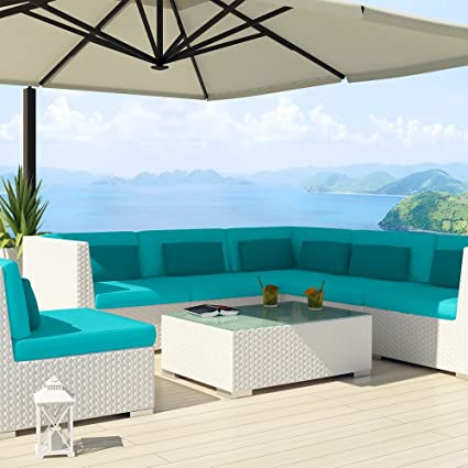 Astounding Amazon Com Uduka Outdoor Sectional Patio Furniture White Unemploymentrelief Wooden Chair Designs For Living Room Unemploymentrelieforg