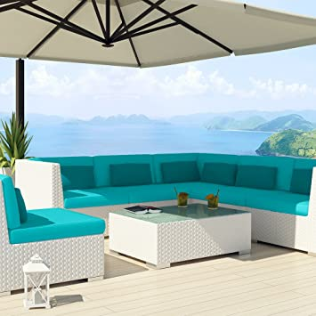 uduka outdoor sectional patio furniture white wicker sofa set luxor rh amazon co uk Lowe's Patio Furniture Wicker Ashley Furniture Outdoor Patio Furniture