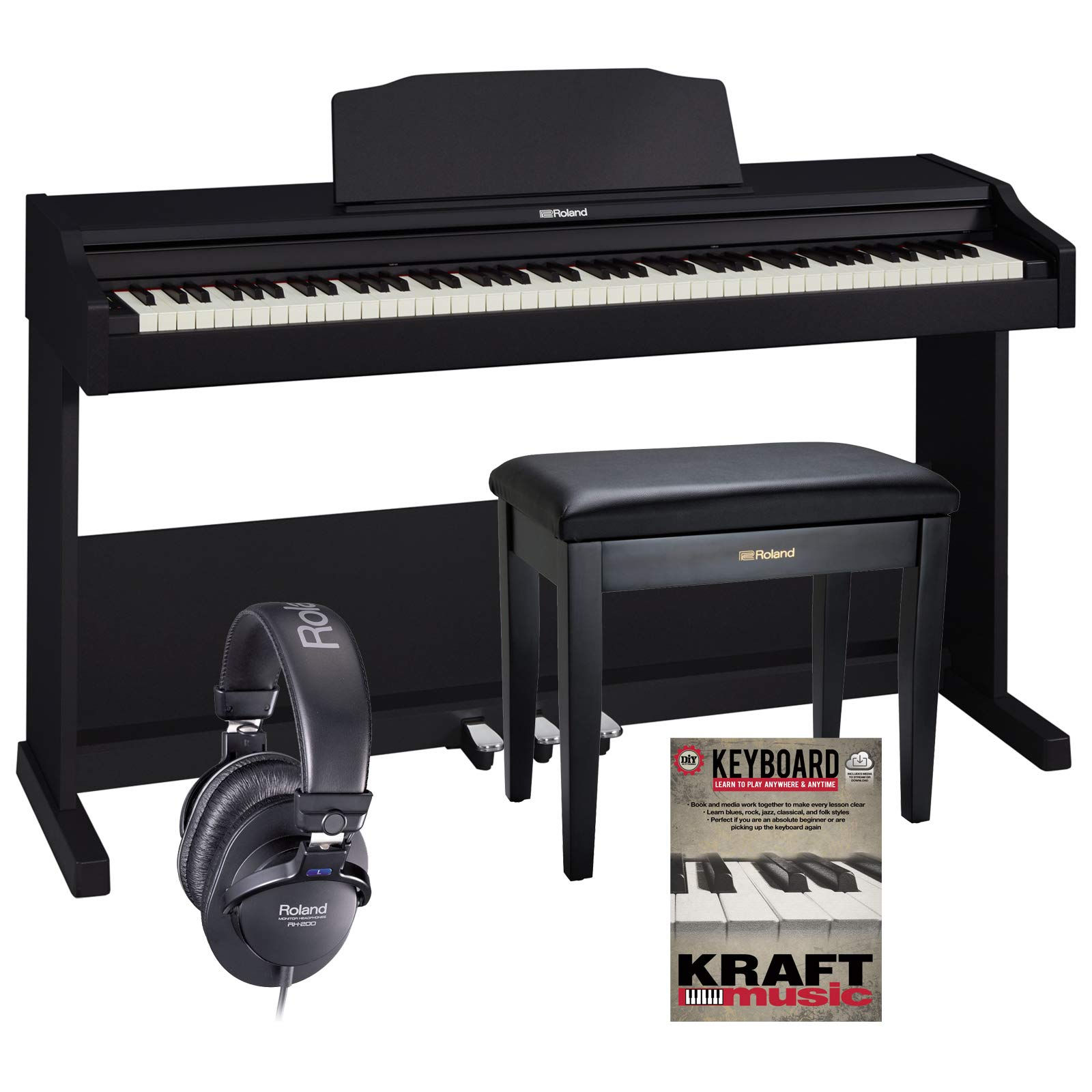 Roland RP102 Digital Piano - Black with Roland Bench, Headphones, and Lesson Book by Roland