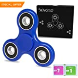 SENQIAO Tri Fidget Hand EDC Finger Spinner Toy Stress Reducer with Premier Ceramic bearing For ADD, ADHD, Anxiety, and Autism Adult Children (Blue)