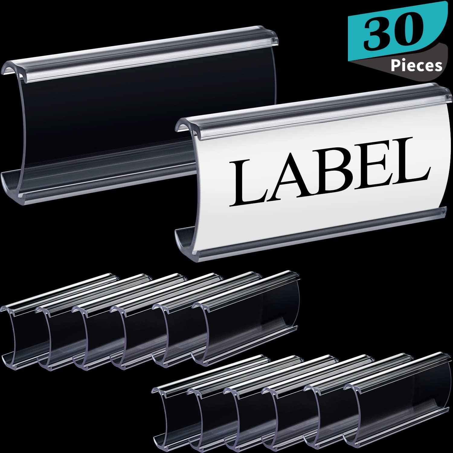 Plastic Label Holders Wire Shelf Label Holders Clear Plastic Shelf Label Holders Compatible with Metro Shelves, 3 x 1.25 Inches (30 Packs)