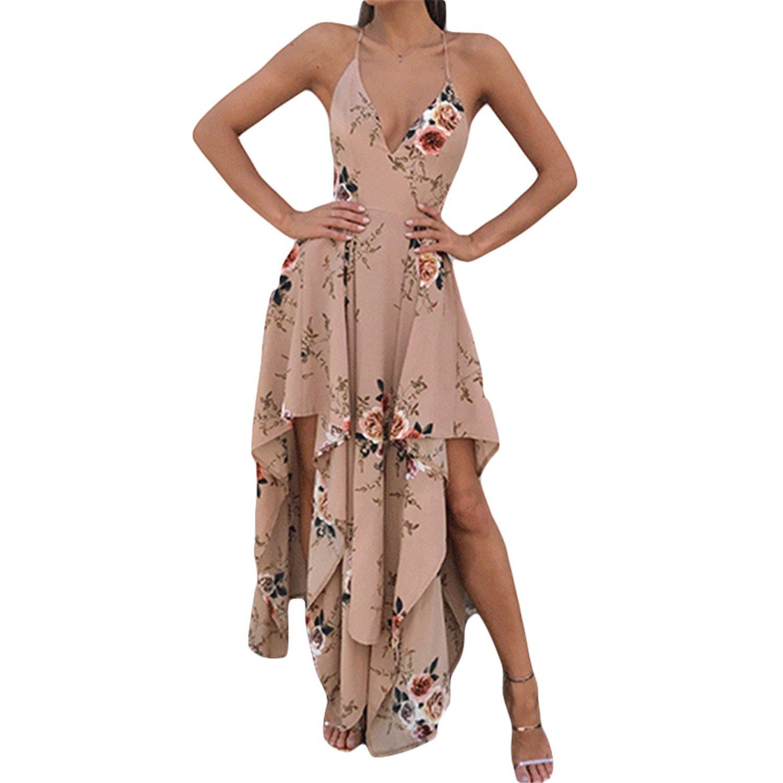 Amazon.com: Eloise Isabel Fashion Sexy vestidos de verão mulheres flor impresso floral slip dress profundo decote em v sem encosto bohemian estilo ...