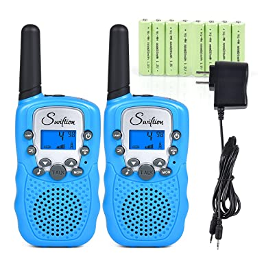Swiftion Rechargeable Kids Walkie Talkies 22 Channel 0.5W FRS GMRS 2 Way Radios with Charger and Rechargeable Batteries Blue, Pack of 2