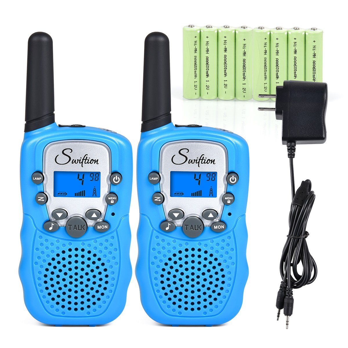 Swiftion Rechargeable Kids Walkie Talkies 22 Channel 0.5W FRS/GMRS 2 Way Radios with Charger and Rechargeable Batteries (Blue, Pack of 2)