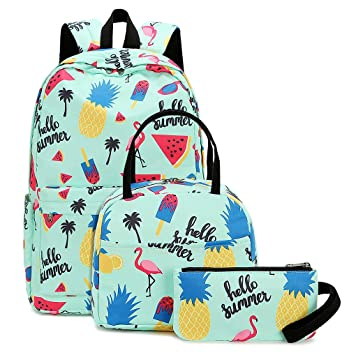 c91fc12ead4f School Backpacks set for Teen Girls Backpack Cute Pineapple Bookbags with  Lunch bag Casual Daypack (Flamingo and Pineapple -Turquoise)