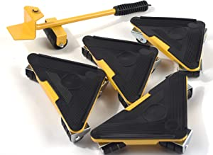 Heavy Duty Furniture Lifter with Triangle Moving Sliders Mover Tool Set Moving Appliance Roller Load for 880-1100lb 5 Packs (Yellow)