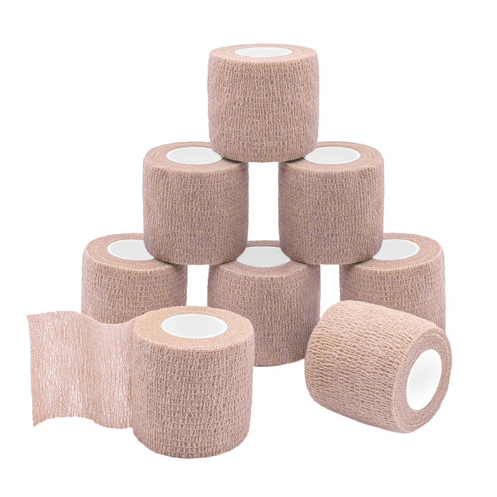 GooGou Self Adherent Wrap Bandages Self Adhering Cohesive Tape Elastic Athletic Sports Tape for Sports Sprain Swelling and Soreness on Wrist and Ankle 8PCS 2 in X 14.7 ft (brown color)
