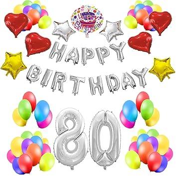 COTIGO - Kit de Globos Cumpleaños Happy Birthday #80 Color Plateado, Año 80